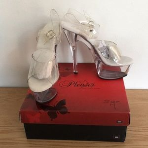 "New Pleaser Clear Platform 6"" Heels With Straps 7M"